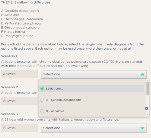 mrcs part a extended matching questions